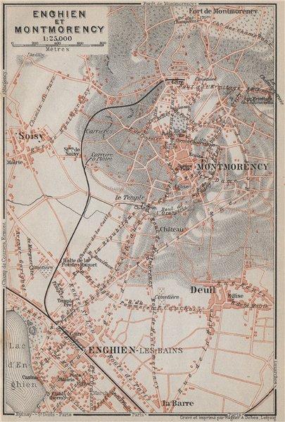 Associate Product ENGHIEN-les-Bains & MONTMORENCY town city plan. Deuil Soisy Val-d'Oise 1910 map