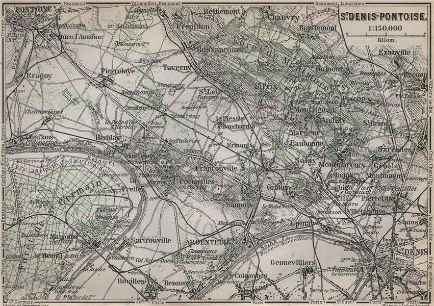 Associate Product ST DENIS PONTOISE environs. Argenteuil Foret de Montmorency Val-d'Oise 1910 map
