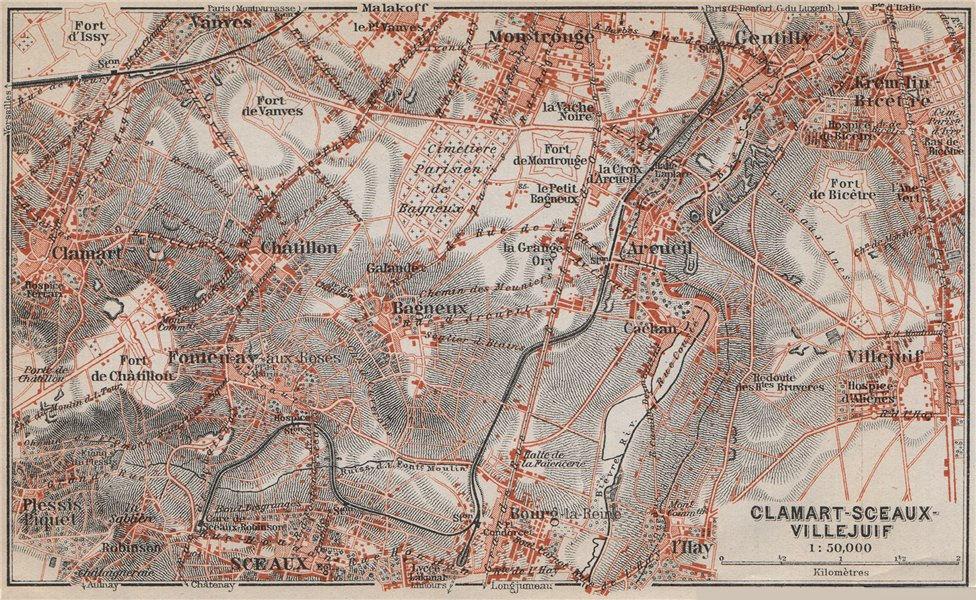 Associate Product CLAMART SCEAUX VILLEJUIF Gentilly Montrouge Arcueil Hauts-de-Seine 1910 map
