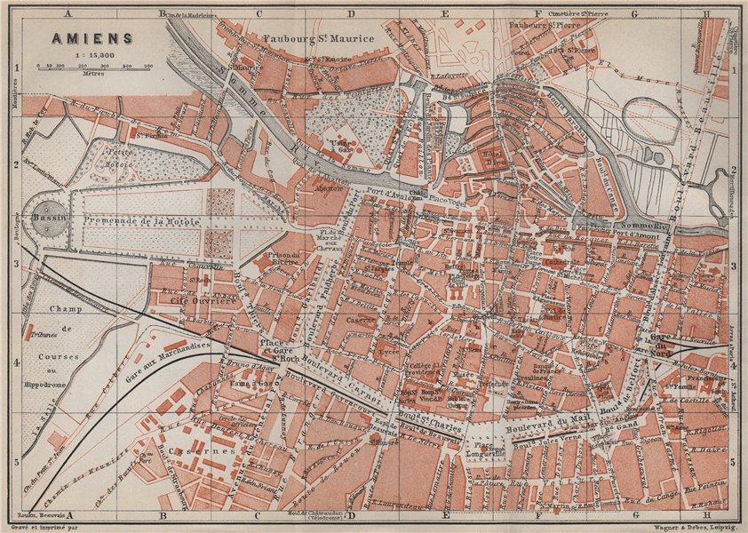 Associate Product AMIENS antique town city plan de la ville. Somme carte. BAEDEKER 1910 old map