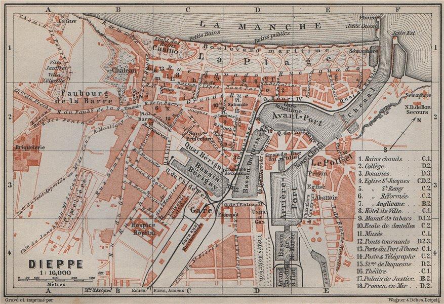 Associate Product DIEPPE antique town city plan de la ville. Seine-Maritime carte 1910 old map