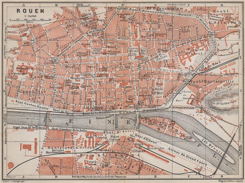 Associate Product ROUEN antique town city plan de la ville. Seine-Maritime carte 1910 old map