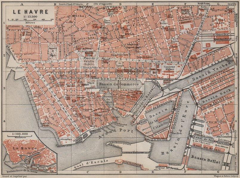 Associate Product LE HAVRE antique town city plan de la ville. Seine-Maritime carte 1910 old map