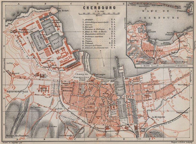 Associate Product CHERBOURG town city plan de la ville. Manche. Rade de Cherbourg carte 1910 map