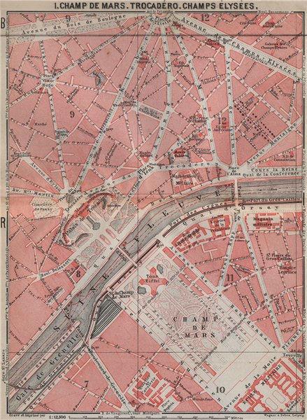 Associate Product CHAMP DE MARS TROCADÉRO CHAMPS ÉLYSÉES town city plan. Paris 7e 8e 16e 1910 map