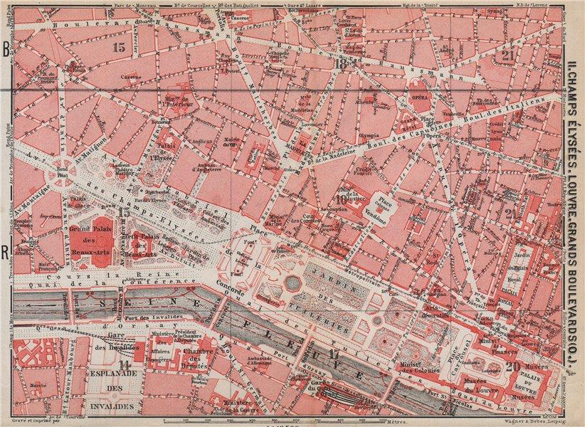 Associate Product CHAMPS ÉLYSÉES LOUVRE GRANDS BOULEVARDS city plan Paris 1e 2e 7e 8e 9e 1910 map