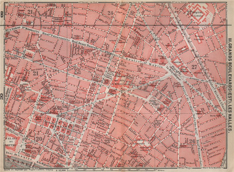 Associate Product GRANDS BOULEVARDS LES HALLES MARAIS town city plan. Paris 1e 2e 3e 10e 1910 map
