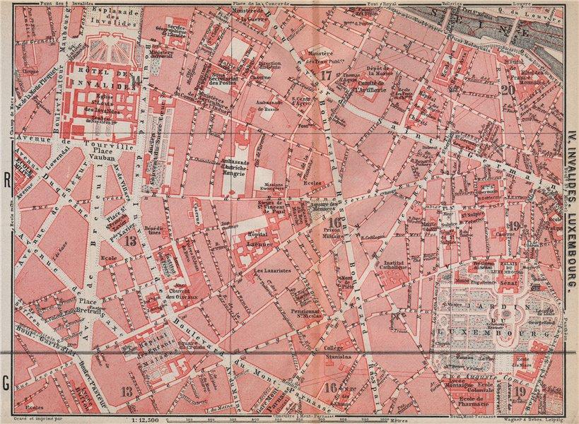 INVALIDES LUXEMBOURG. town city plan de la ville. Paris 6e 7e carte 1910 map