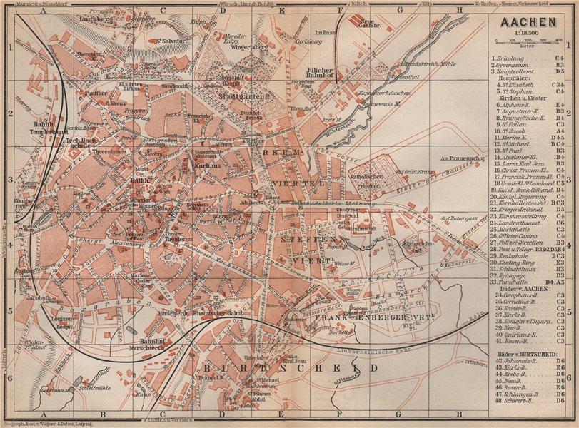 Associate Product AACHEN town city stadtplan. Northrhine-Westfalia. Aix-la-Chapelle 1896 old map