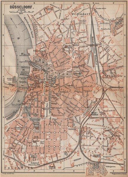Associate Product DÜSSELDORF town city stadtplan. Northrhine-Westfalia. Dusseldorf karte 1896 map