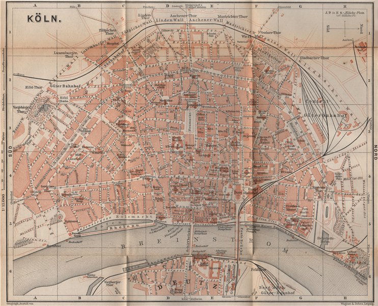 Associate Product KÖLN (COLOGNE) town city stadtplan. Northrhine-Westfalia. Koln karte 1896 map