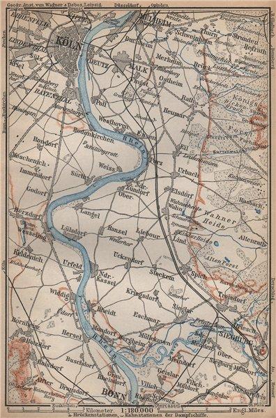 Associate Product THE RHINE/RHEIN from/von COLOGNE KÖLN to/nach BONN. Deutschland karte 1896 map