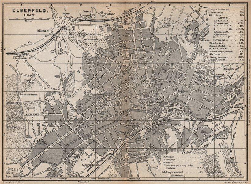 ELBERFELD / WUPPERTAL  antique town city stadtplan. Germany karte 1896 old map