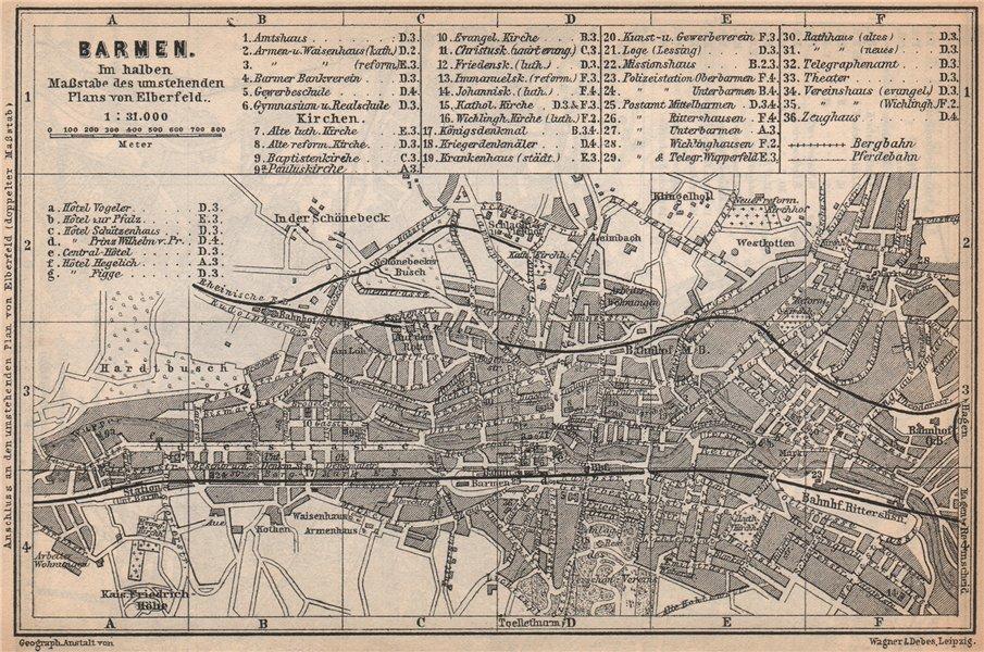 Associate Product BARMEN / WUPPERTAL antique town city stadtplan. Germany karte 1896 old map