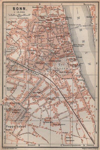 Associate Product BONN antique town city stadtplan. Northrhine-Westfalia karte. BAEDEKER 1896 map