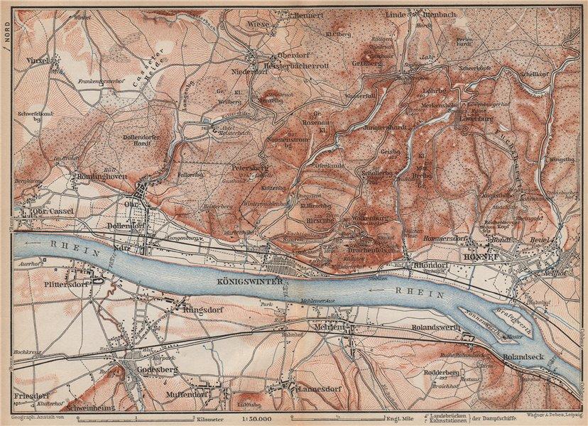 Associate Product SIEBENGEBIRGE Seven Hills Königswinter Bad Honnef Northrhine-Westfalia 1896 map