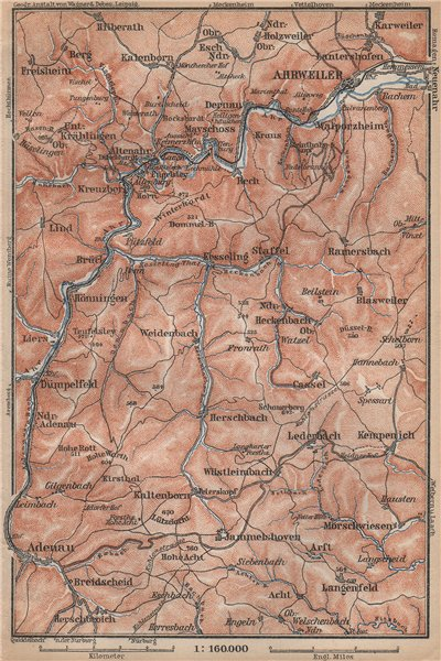 Associate Product AHR & ADENAUER BACH VALLEYS. Ahrweiler Altenahr topo-map. Germany 1896 old