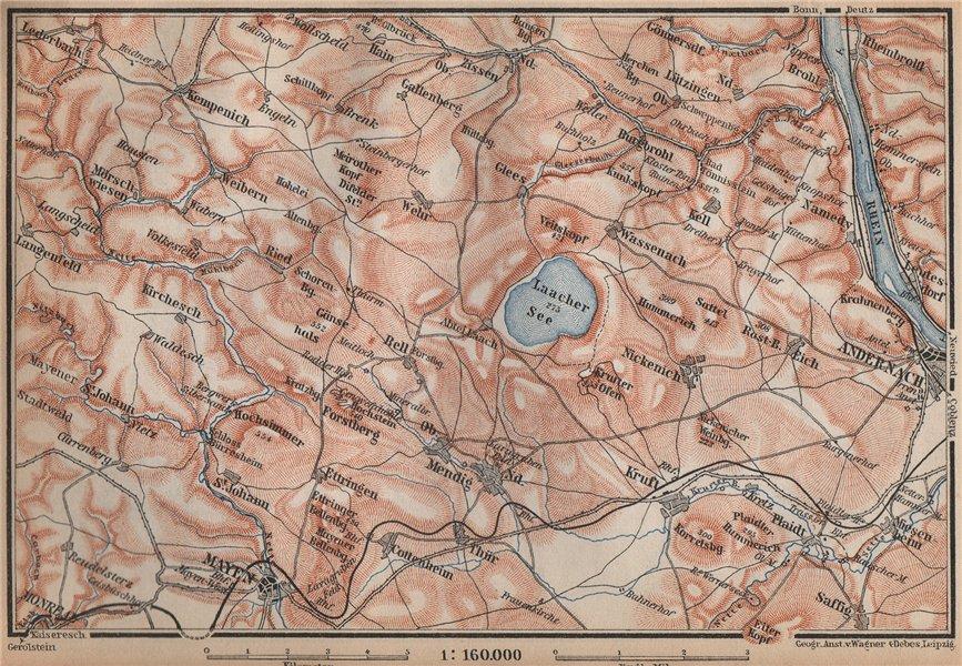 Associate Product LAACHER SEE. Vulkaneifel topo-map Andernach Mayen Rhineland-Palatinate 1896