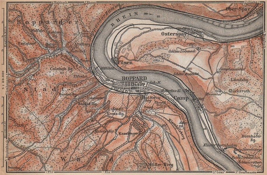 Associate Product BOPPARD & OSTERSPAI. Filsen. Oberes Mittelrheintal. Rhine Gorge karte 1896 map
