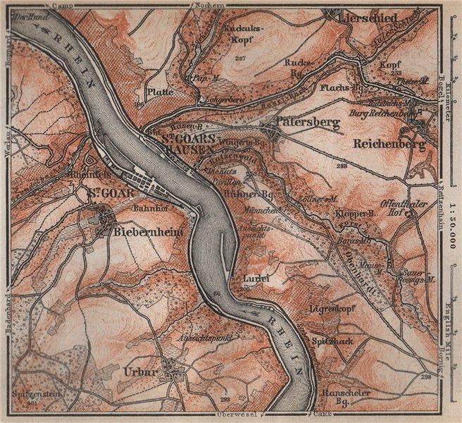 Associate Product SANKT GOAR ST GOARSHAUSEN Oberes Mittelrheintal Rhine Gorge karte SMALL 1896 map