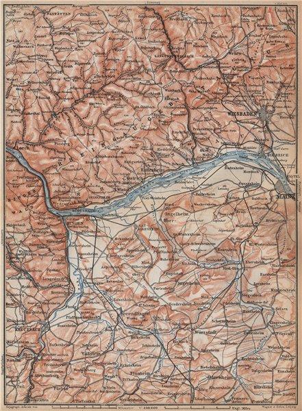 Associate Product THE RHEINGAU topo-map. Wiesbaden Lorch Rüdesheim Mainz. Germany karte 1896