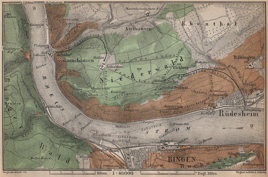 RÜDESHEIM BINGEN. Niederwald. Oberes Mittelrheintal. Rhine Gorge karte 1896 map