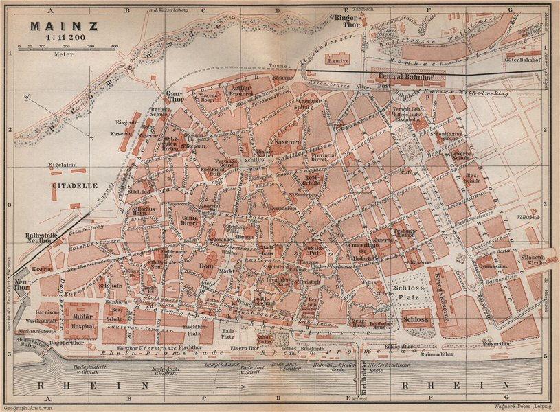 Associate Product MAINZ antique town city stadtplan. Rhineland-Palatinate. Mayence karte 1896 map