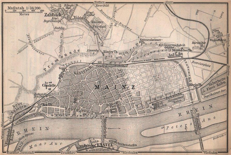 Associate Product MAINZ environs umgebung. Mayence. Rhineland-Palatinate.Deutschland 1896 map