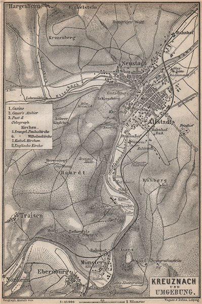 Associate Product BAD KREUZNACH und umgebung/environs. Rhineland-Palatinate karte 1896 old map