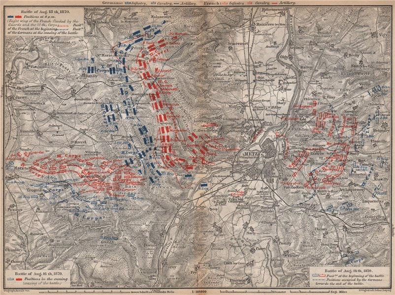 Associate Product FRANCO-PRUSSIAN WAR. Battle of Mars-La-Tour Borny–Colombey 1870 Metz 1896 map
