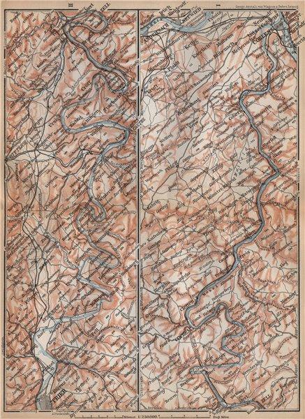 Associate Product MOSELLE. Trier-Schweich-Leiwen-Bernkastel-Kues-Koblenz. Treves Coblenz 1896 map
