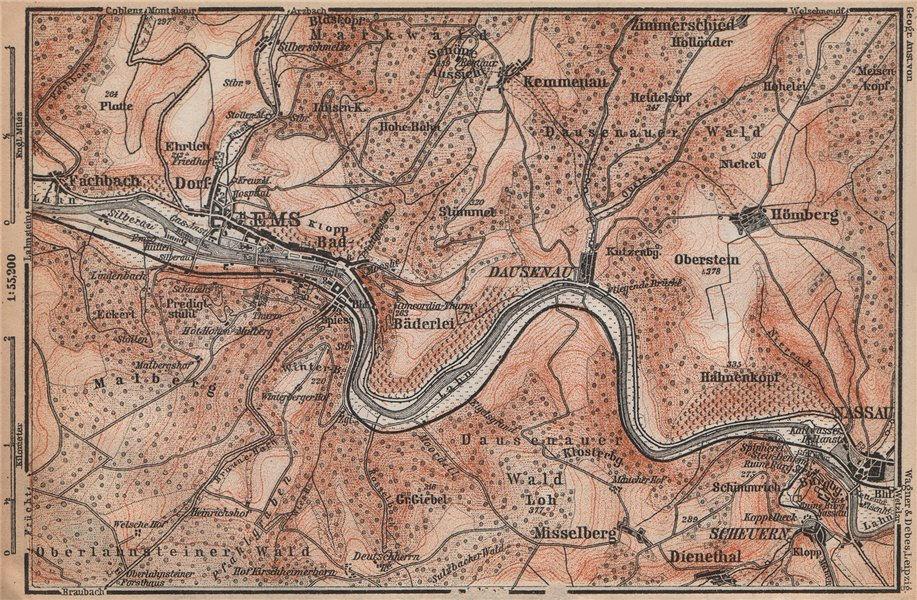 BAD EMS & NASSAU environs. Dausenau Lahn. Deutschland karte. BAEDEKER 1896 map