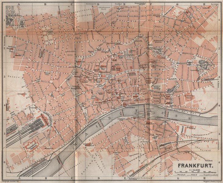 Associate Product FRANKFURT AM MAIN antique town city stadtplan. Hessen karte. BAEDEKER 1896 map