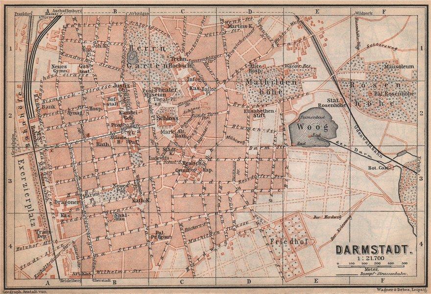DARMSTADT antique town city stadtplan. Hessen karte. BAEDEKER 1896 old map