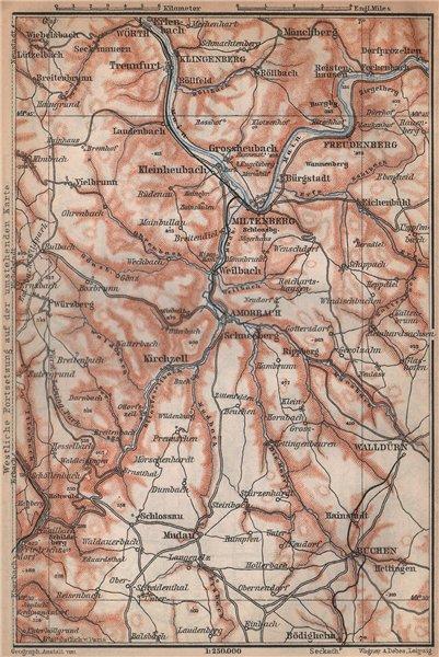 Associate Product ÖST/EAST ODENWALD topo-map. Miltenberg Walldürn Klingenburg. Germany 1896