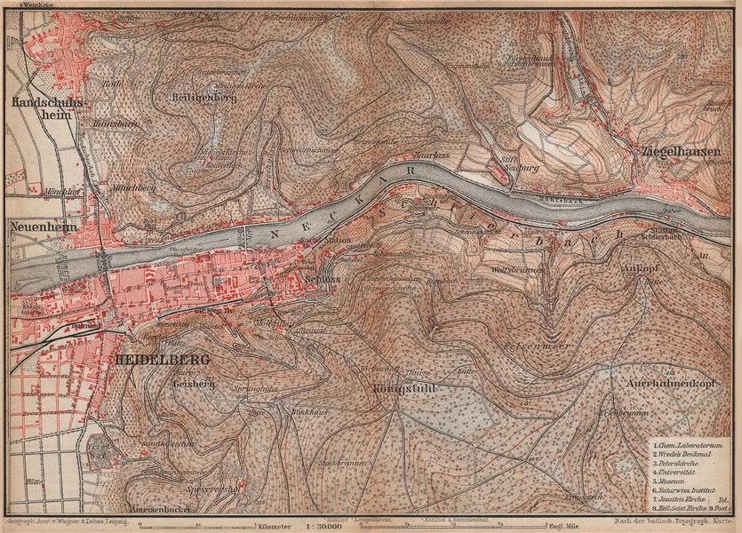 Associate Product HEIDELBERG & environs ungebung. Ziegelhausen. Baden-Württemberg karte 1896 map