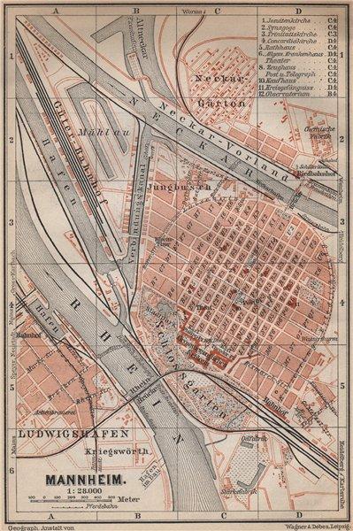 Associate Product MANNHEIM antique town city stadtplan. Baden-Württemberg karte 1896 old map