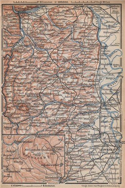Associate Product RHEINHESSEN. RHENISH HESSE. Mainz Mannheim Worms Kreuznach. Germany 1896 map