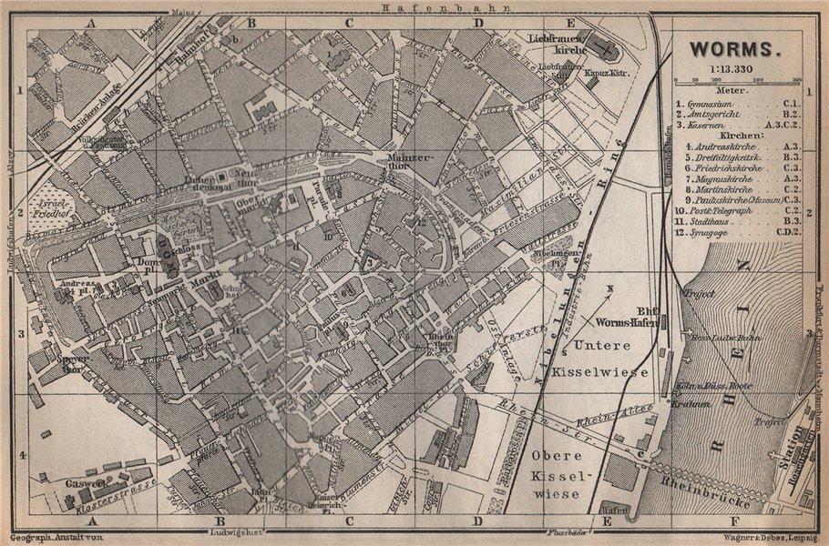 Associate Product WORMS town city stadtplan. Rhineland-Palatinate, Deutschland karte 1896 map