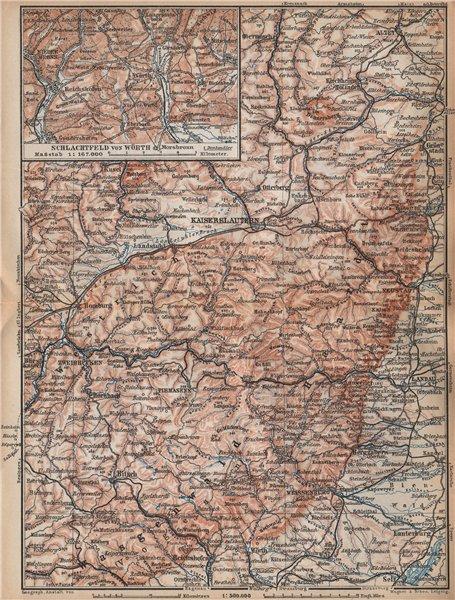 Associate Product PFÄLZERWALD. PALATINATE FOREST. Rheinpfalz. Kaiserslautern Weissenburg 1896 map