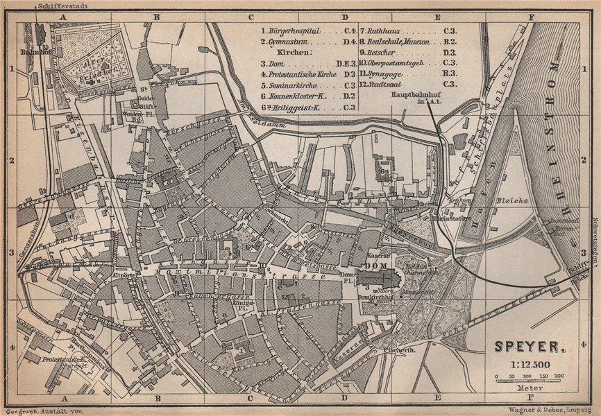 Associate Product SPEYER town city stadtplan. Rhineland-Palatinate, Deutschland. Spires 1896 map