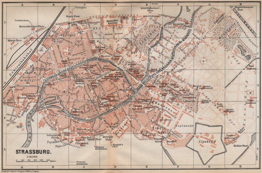 Associate Product STRASBOURG town city plan de la ville. Straßburg. Bas-Rhin carte 1896 old map