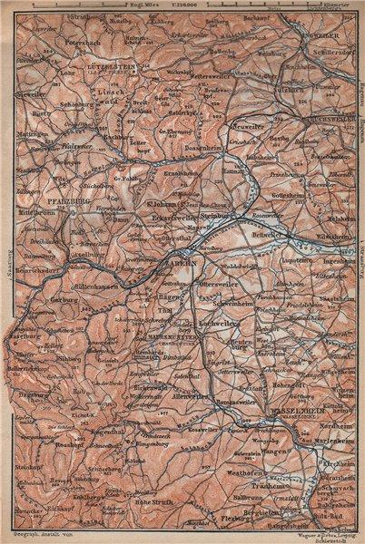 Associate Product NORTHERN VOSGES MOUNTAINS. Wasselonne Saverne Phalsbourg. Bas-Rhin 1896 map