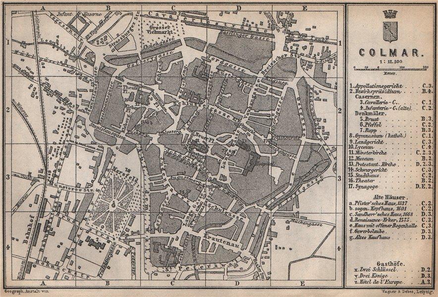 Associate Product COLMAR town city plan. Haut-Rhin, Alsace, France. Kolmar Colmer carte 1896 map