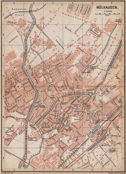 Associate Product MULHOUSE(MÜLHAUSEN MILHÜSA MILHÜSE) town city plan. Bas-Rhin, Alsace 1896 map