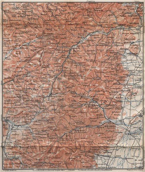 Associate Product CENTRAL VOSGES MOUNTAINS. St Die Schlettstadt Molsheim carte. BAEDEKER 1896 map
