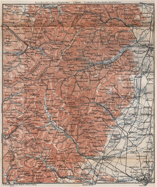 Associate Product SOUTHERN VOSGES MOUNTAINS. Colmar Mulhouse. Haut-Rhin carte. BAEDEKER 1896 map