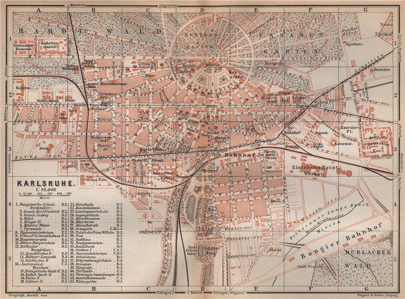 Associate Product KARLSRUHE antique town city stadtplan. Baden-Württemberg karte 1896 old map
