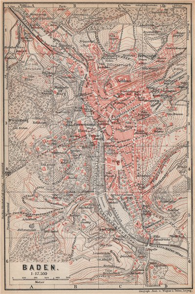Associate Product BADEN-BADEN town city stadtplan & environs/umgebung. Germany karte 1896 map