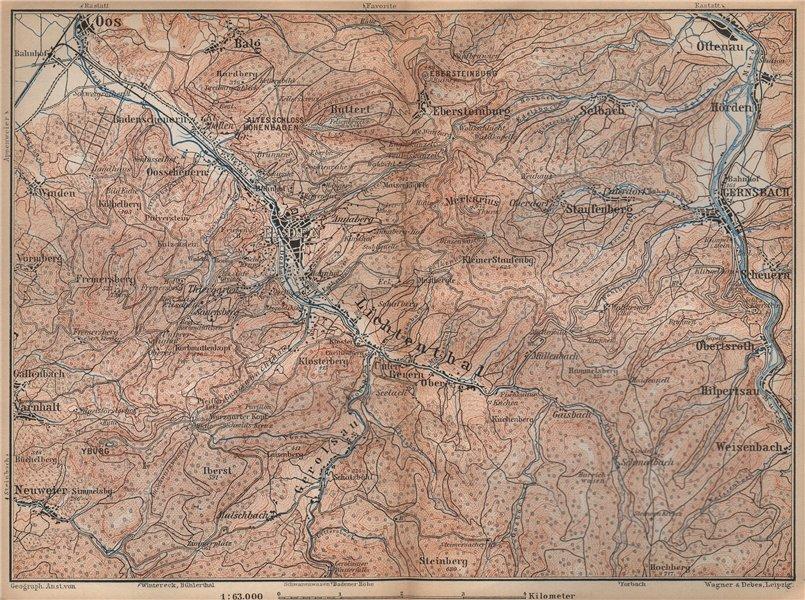 Associate Product BADEN-BADEN environs umgebung. Lichtental Oos Schwarzwald Black Forest 1896 map